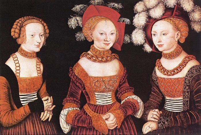 Saxon Princesses Sibylla, Emilia and Sidonia by Lucas Cranach The Elder (1472-1553, Germany) | Oil Painting | WahooArt.com