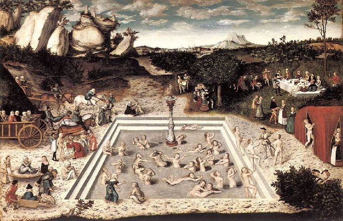 'The Fountain of Youth', Oil by Lucas Cranach The Elder (1472-1553, Germany)