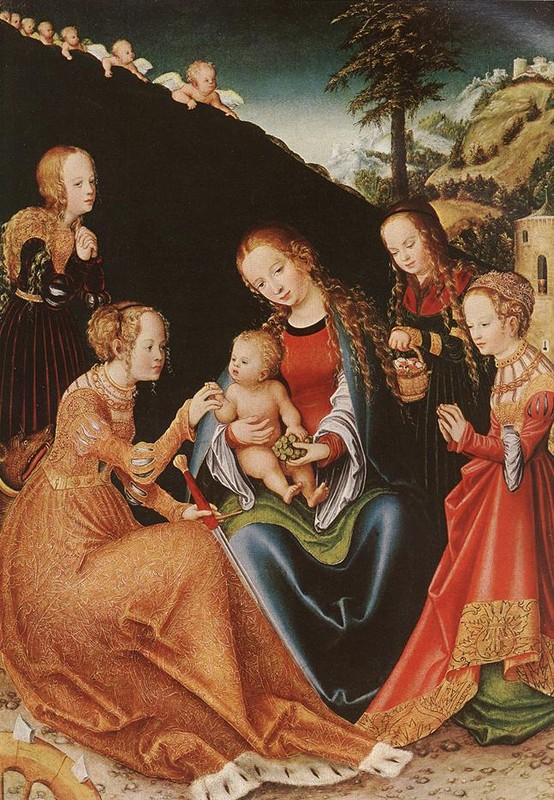 'The Mystic Marriage of St Catherine', Oil by Lucas Cranach The Elder (1472-1553, Germany)
