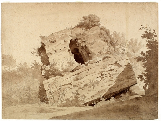 'Fallen Masonry Covered with Vegetation', Oil by Thomas Cole (1801-1848, England)