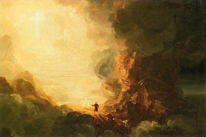 'The Cross and the World, Study for 'The Pilgrim of the Cross at the End of His Journey'', Oil by Thomas Cole (1801-1848, England)