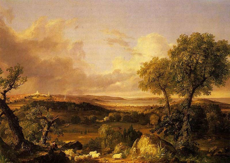 'View of Boston', Oil by Thomas Cole (1801-1848, England)