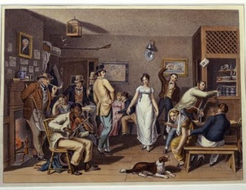 'Dance in a Country Tavern', Oil by John Lewis Krimmel (1786-1821, Germany)