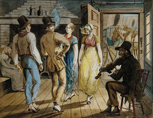 Merrymaking at a Wayside Inn by John Lewis Krimmel (1786-1821, Germany) | Famous Paintings Reproductions | WahooArt.com