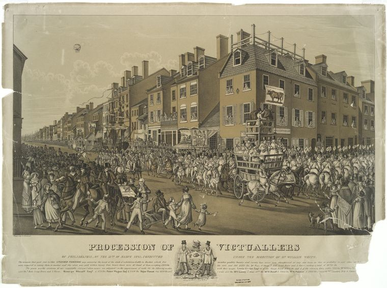 'Procession of victuallers of Philadelphia, on the 15th, of March 1821', Oil by John Lewis Krimmel (1786-1821, Germany)