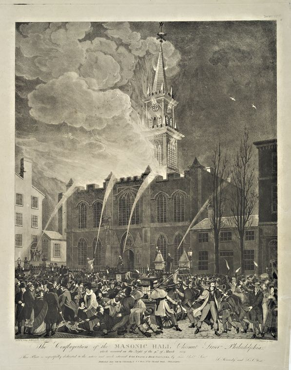 The conflagration of the Masonic Hall Chestnut Street Philadelphia by John Lewis Krimmel (1786-1821, Germany) | Art Reproduction | WahooArt.com