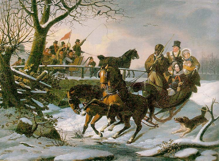 The Sleighing Frolic by John Lewis Krimmel (1786-1821, Germany) | Painting Copy | WahooArt.com