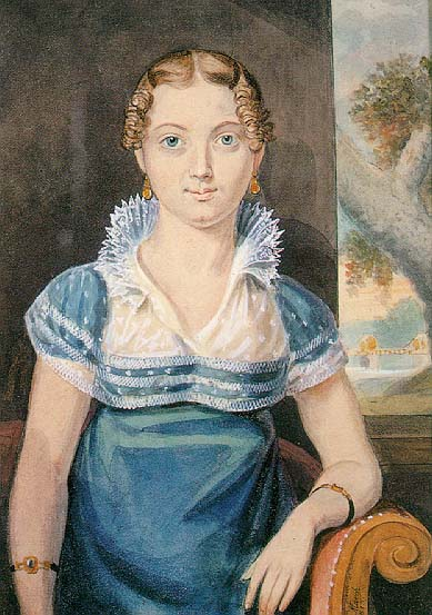 Young Girl with a Blue Dress by John Lewis Krimmel (1786-1821, Germany) | Oil Painting | WahooArt.com