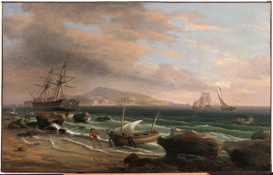 'A Broad Harbor', Oil by Thomas Birch (1779-1851, England)