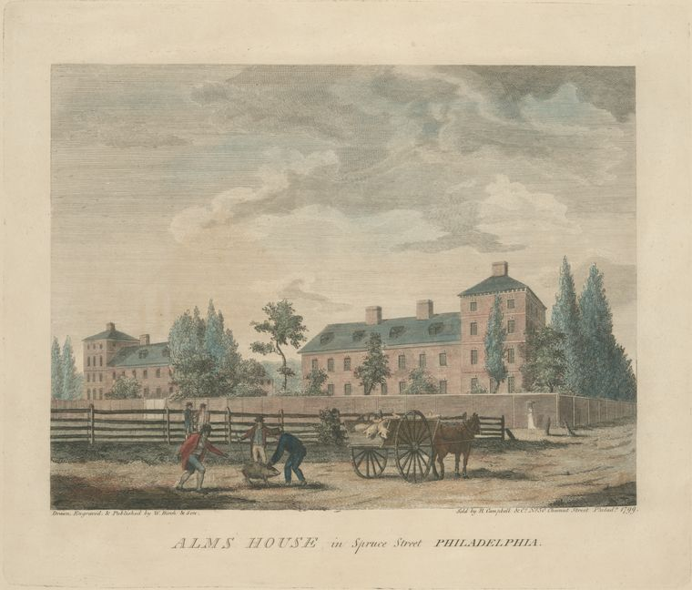 Alms house in Spruce Street Philadelphia by Thomas Birch (1779-1851, England) | Museum Quality Reproductions | WahooArt.com