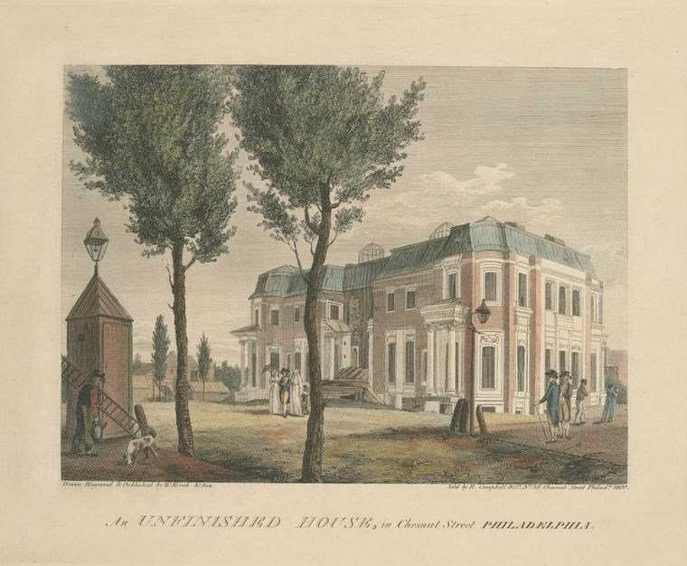 An unfinished house, in Chestnut Street Philadelphia by Thomas Birch (1779-1851, England) | WahooArt.com