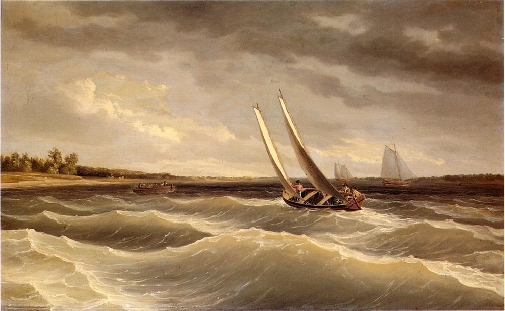 Boats Navigating the Waves by Thomas Birch (1779-1851, England) | Museum Quality Reproductions | WahooArt.com
