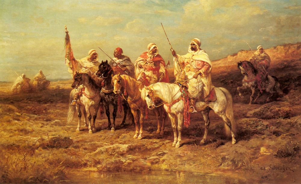 'Arab Horsemen By A Watering Hole', Oil by Adolf Schreyer (1828-1899, Germany)