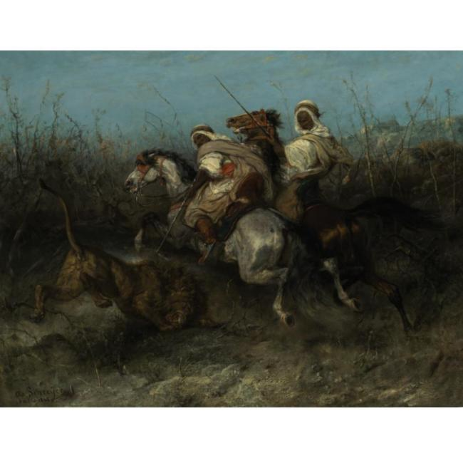 'The Lion Hunt', Oil by Adolf Schreyer (1828-1899, Germany)