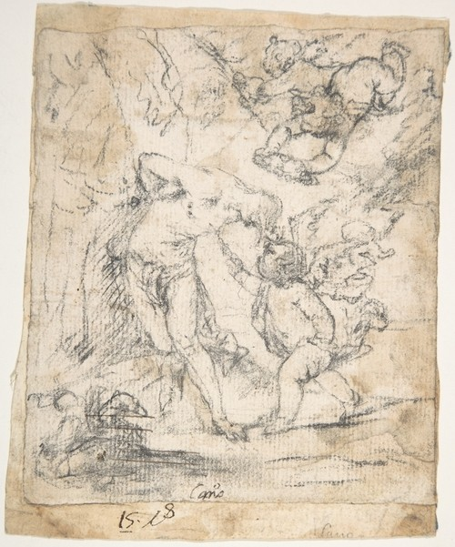 'Angels Ministering to St. Sebastian', Drawing by Alonso Cano (1601-1667, Spain)