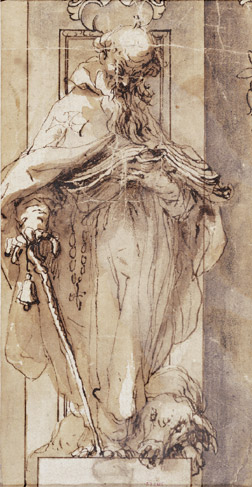 'Saint Anthony the Abbot', Drawing by Alonso Cano (1601-1667, Spain)