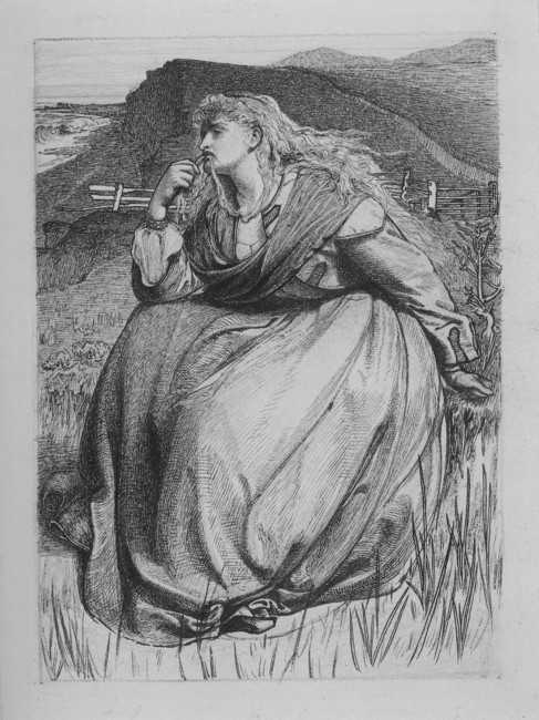 'If', Etching by Anthony Frederick Sandys (1829-1904, England)