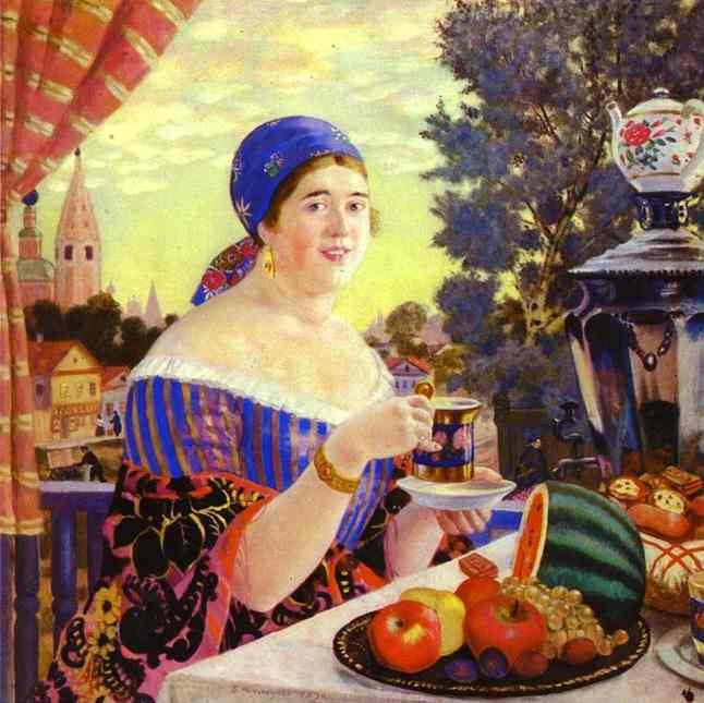 'A Merchant Wife at Tea', Oil by Boris Kustodiev (1878-1927, Russia)