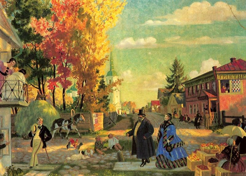 'Autumn Promenade', Oil by Boris Kustodiev (1878-1927, Russia)