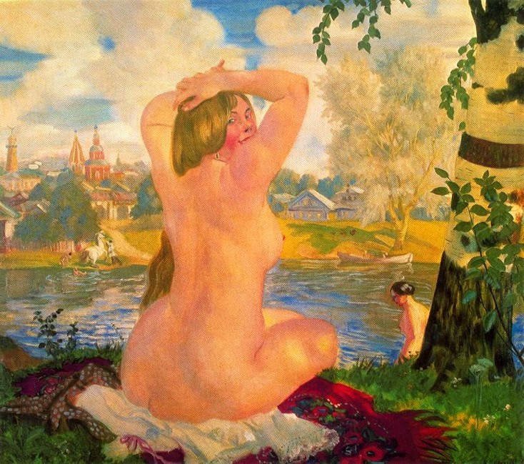 Bathing 1 by Boris Kustodiev (1878-1927, Russia) | WahooArt.com