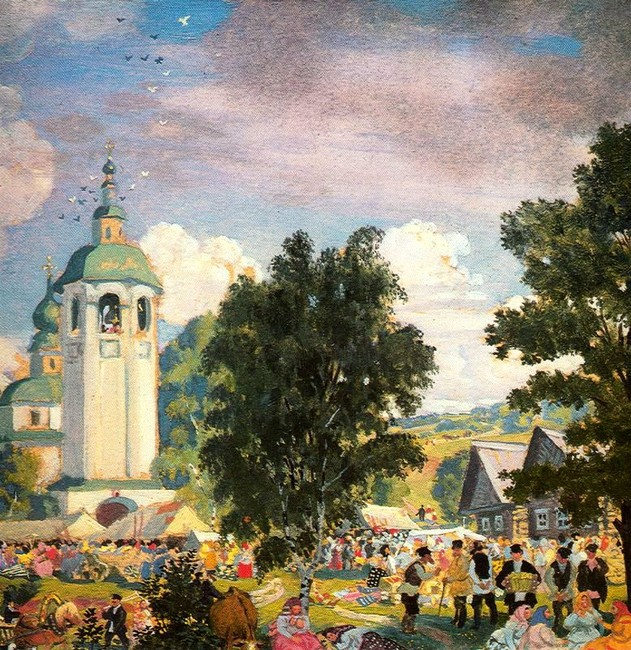 'Rural Festival', Oil by Boris Kustodiev (1878-1927, Russia)
