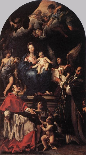 'Madonna and Child Enthroned with Angels and Saints', Oil by Carlo Maratta (1625-1713, Italy)
