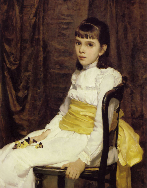 'A Little Girl', Oil by Cecilia Beaux (1855-1942, United States)