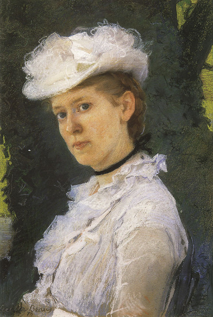 'Lady George Darwin', Oil by Cecilia Beaux (1855-1942, United States)