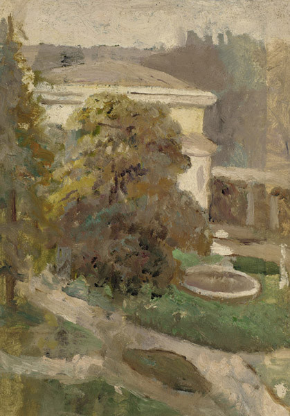 'Landscape with Villa and Fountain', Oil by Cecilia Beaux (1855-1942, United States)