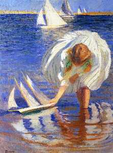 Edmund Charles Tarbell - Girl with Sailboat (aka Child with Boat)