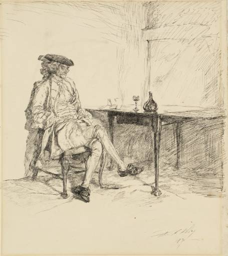 'The Letter', Drawing by Edwin Austin Abbey (1852-1911, United States)