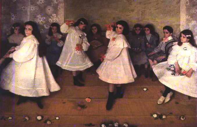 'Cantando y Bailando', Oil by Eugenio Hermoso Martínez (1883-1963, Spain)