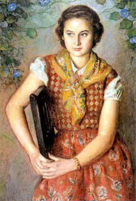 The girl with yellow scarf by Eugenio Hermoso Martínez (1883-1963, Spain) | Art Reproduction | WahooArt.com