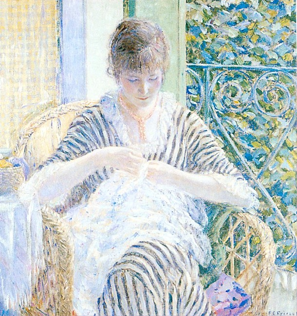 On The Balcony by Frederick Carl Frieseke (1874-1939, United States) | Art Reproduction | WahooArt.com