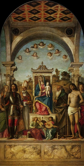 'Madonna and Child Enthroned with Saints', Oil by Giambattista Cima Da Conegliano (1459-1517, Italy)