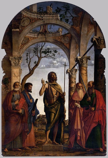 'St John the Baptist with Saints', Oil by Giambattista Cima Da Conegliano (1459-1517, Italy)