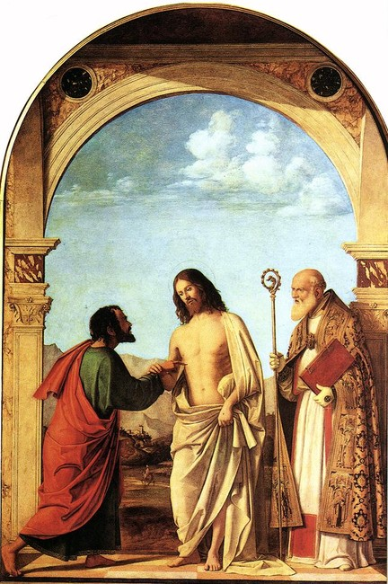 The Incredulity of St. Thomas with St. Magno Vescovo by Giambattista Cima Da Conegliano (1459-1517, Italy) | Museum Quality Reproductions | WahooArt.com
