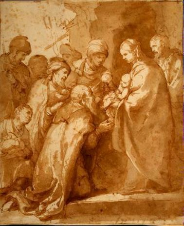 'Adoración de los Magos', Drawing by Bartolome Esteban Murillo (1617-1682, Spain)