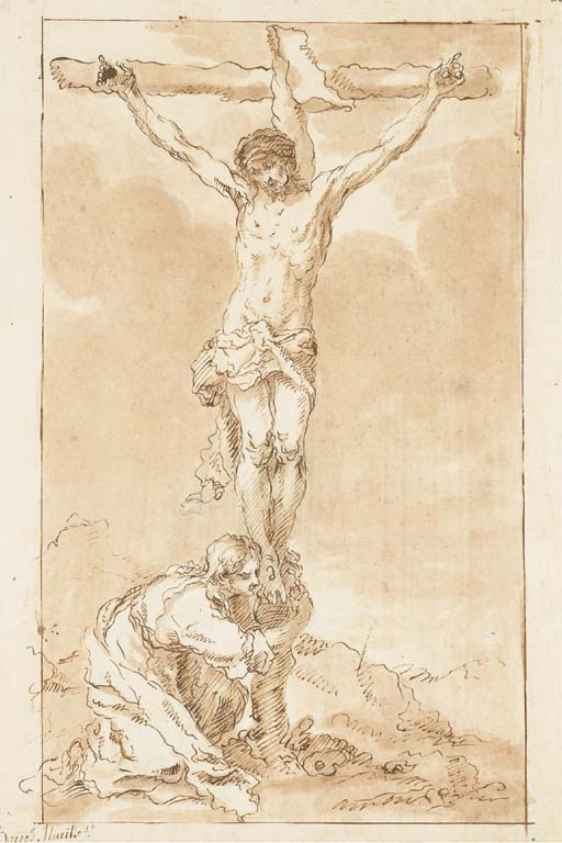 'Le Christ en croix avec Marie-Madeleine', Drawing by Bartolome Esteban Murillo (1617-1682, Spain)