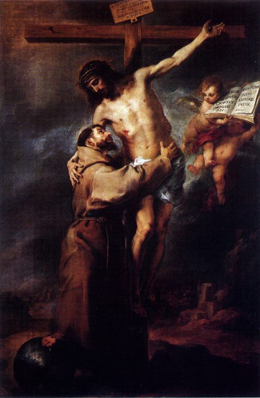 'San Francisco abrazando a Cristo en la cruz', Oil by Bartolome Esteban Murillo (1617-1682, Spain)