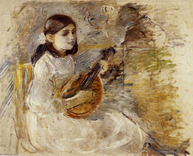 'Girl Playing the Mandolin', Oil by Berthe Morisot (1841-1895, France)