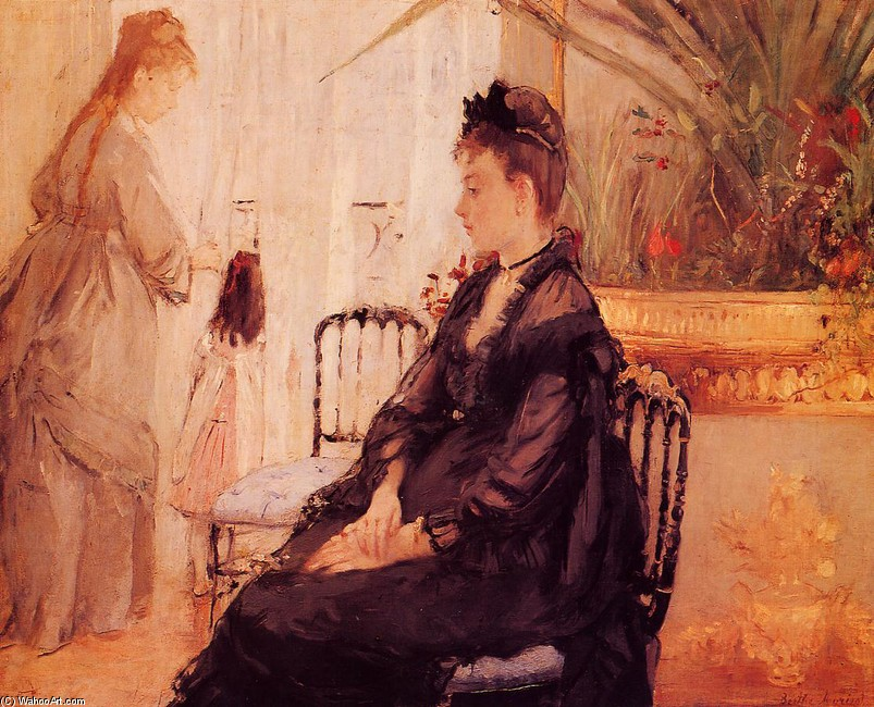'Interior', Oil by Berthe Morisot (1841-1895, France)