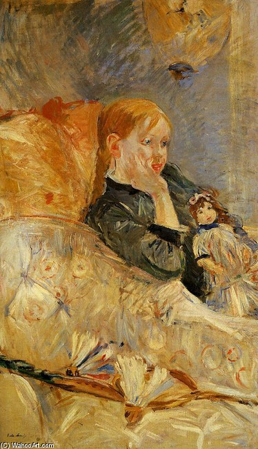 'Little Girl with a Doll', Oil by Berthe Morisot (1841-1895, France)