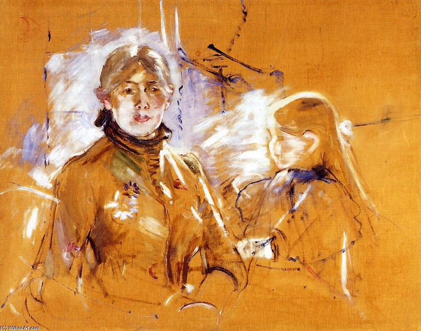 'Portrait of Berthe Morisot and Her Daughter', Oil by Berthe Morisot (1841-1895, France)