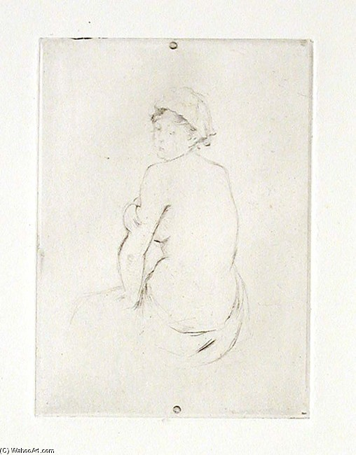 'Seated Nude', Drawing by Berthe Morisot (1841-1895, France)