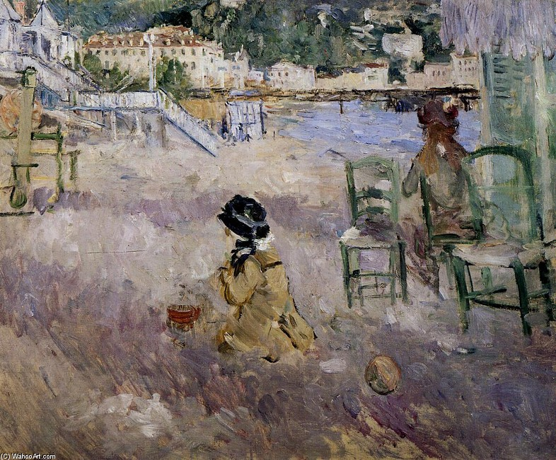 'The Beach at Nice', Oil by Berthe Morisot (1841-1895, France)