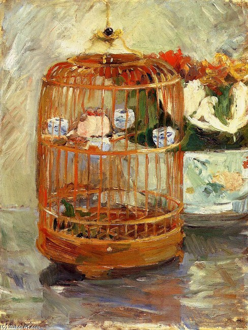 'The Cage', Oil by Berthe Morisot (1841-1895, France)