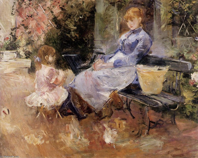 'The Fable', Oil by Berthe Morisot (1841-1895, France)