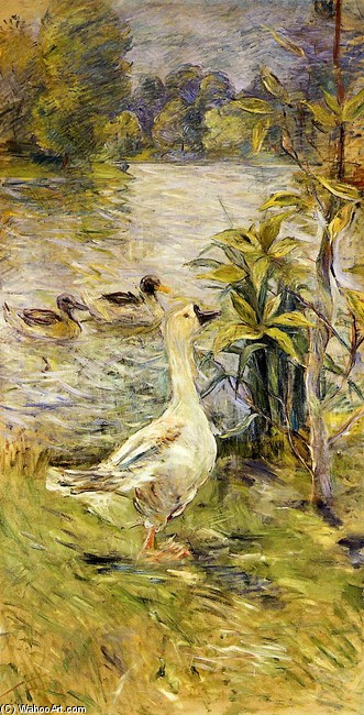 'The Goose', Oil by Berthe Morisot (1841-1895, France)