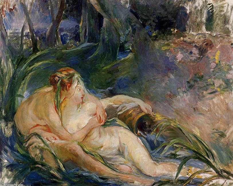 'Two Nymphs Embracing', Oil by Berthe Morisot (1841-1895, France)